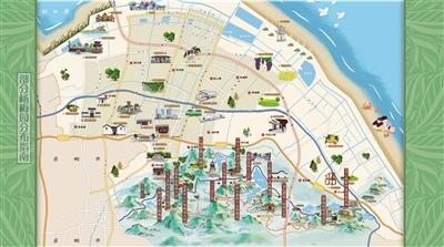 慈溪杨梅园分布手绘地图